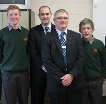 Representatives from the local Bank of Ireland Vivian Rusk and Niall Andrews with students