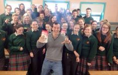 Paddy O'Connell (Paddy O'S Granola) and students of St. Fergal's College.